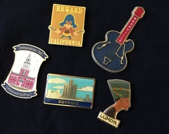Vintage Set of 5 Enamel Magnets