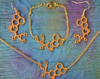Biolojewelry - LSD Molecule Necklace  Earring and Bracelet Set