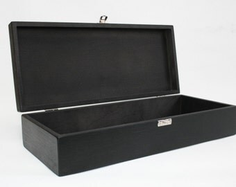 Black Wooden Keepsake Box / Storage Box / Gift Set Box  14.17 x 5.70 x 2.95 inch