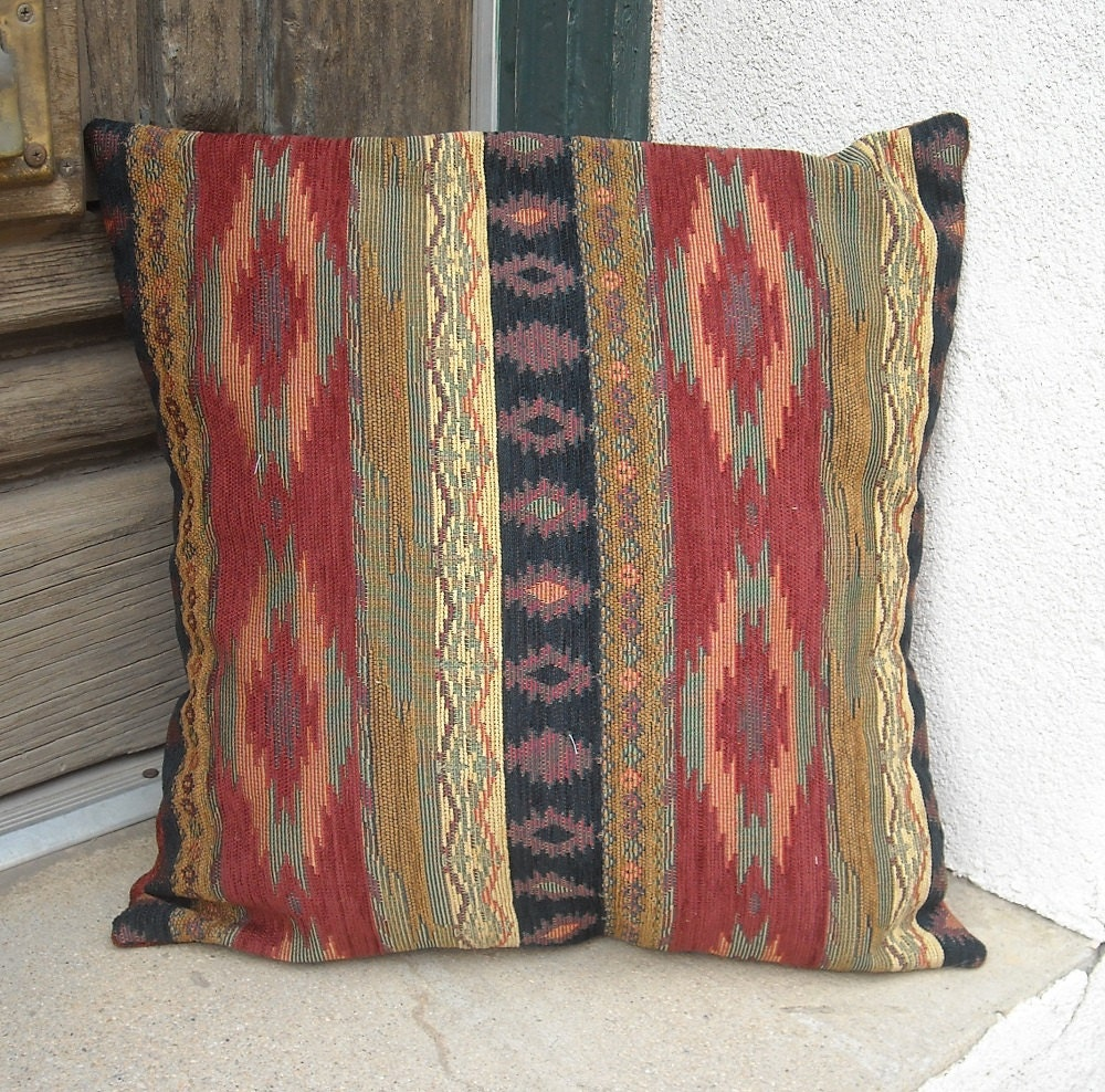 Southwestern Cushion Covers : Southwestern chenille pillow cover. 16 x 16 to 24 x 24. Soft
