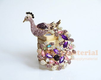 1PCS Bling Purple Crystal Peacock Flatback Alloy Jewelry accessories material supplies