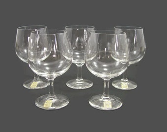 5 Swedish Wine Glasses with Labels, NOS Swedish Kosta Bergh Kristall Crystal Stemware
