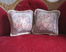 12th Scale Dollhouse Miniature - Pair of French Shabby Chic Aubusson Style Cushions / Pillows