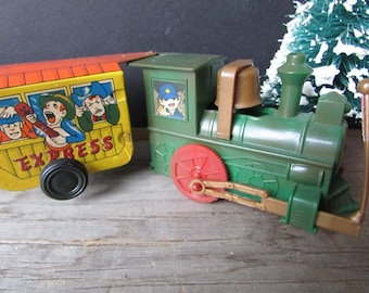 SALE Toy Train Vintage Pressed Steel Marx Tin Lithograph Wind Up Train