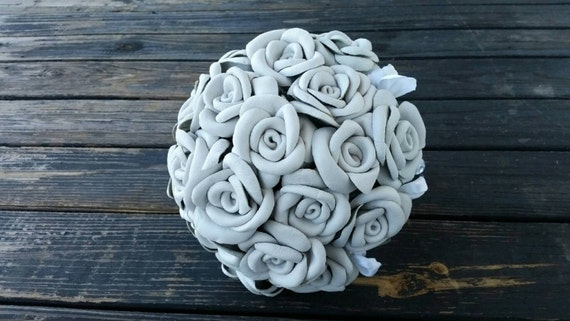 Bouquet, Leather Flower Bridal Bouquet, White Rose Bridal Bouquet