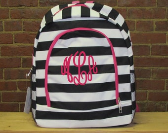 Striped Backpack - Black/White Stripes with Pink Accents - Includes Embroidery Personalization