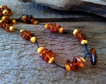 Natural Baltic Amber Nugget Necklace with Butterscotch and Cognac Amber.