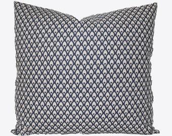 Decorative Designer, Indigo Blue Accent Pillow, Calais Lacefield, 18x18, 20x20, 22x22 or Lumbar Throw Pillow