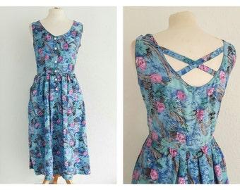 Vintage 90s Floral Grunge Dress  - Rose Print - Cross Over Back - US 10 EU 42 UK 14
