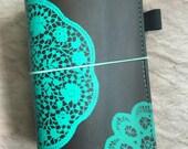 Teal Lace Toby Dori Travelers Notebook Faux Dori