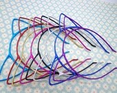 10pcs Headbands - Mixed Colors Shiny Cloth Covered Cat Ear Headband 4mm Wide