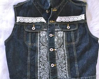 Denim, Denim Jacket and Vests for Women, Jean Jacket, Women's Denim Vests, Upcycled Clothing, Boho Clothing, Bohemian Clothing, Tops, Boho