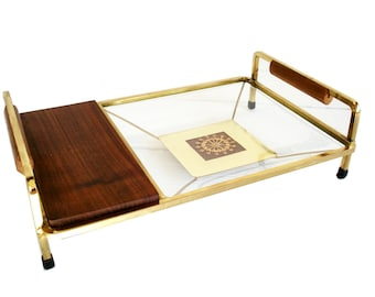 Vintage Brass and Wood Serving Tray