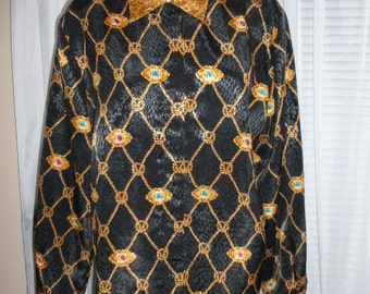 SALE Vintage Laura & Jayne Collection Size 10 Blouse 100% Polyester Long Sleeve