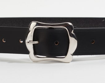 Black Bridle Leather Belt with 1.5 inch Scallop Buckle