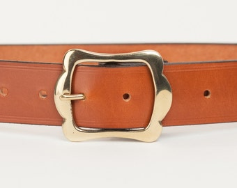 Tan Bridle Leather Belt with 1.5 inch Scallop Buckle