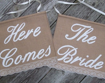 Here Comes The Bride signs - Two Ring Bearer Signs  - Rustic Wedding signs - Double Wedding sign - Here Comes The Bride Banners