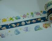 3 Rolls Japanese Washi Tape- Marine Ocean World