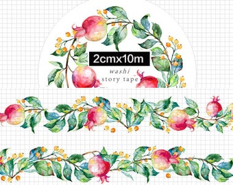 1 Roll Limited Edition Washi Tape: Pomegranate