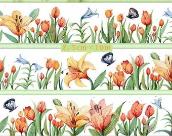 1 Roll Limited Edition Washi Tape- Flower and Butterflies