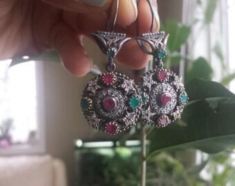 Vintage Sterling Silver Gold Earrings Ruby Emerald