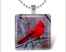 15% OFF AUGUST SALE : Cardinal Bird Red Cardinal Spring Bird Glass Tile Pendant Necklace Keyring design 1