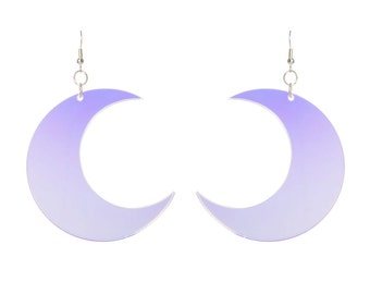 Crescent Moon earrings - laser cut radiant acrylic