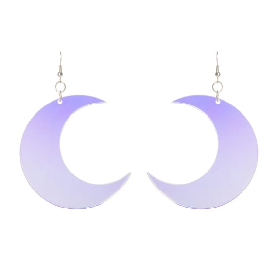 Crescent moon earrings laser cut radiant acrylic for Radiant plexiglass