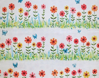 Vintage Kaycrest All-Occasion Gift Wrap - Wrapping Paper - SPRING FLOWERS and BUTTERFLIES - 1960s