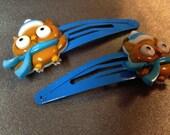 Set of two handmade Christmas Owl hair clips!