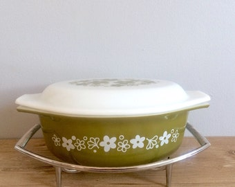 Mid Century Pyrex Lidded Casserole Dish and Chrome Stand