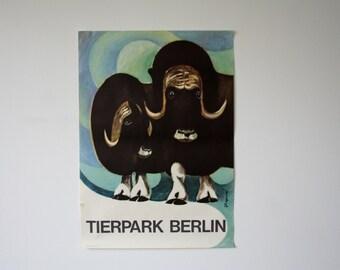 Original BERLIN Zoo GREAT CONDITION vintage Advertising Poster - Wildebeest design P122
