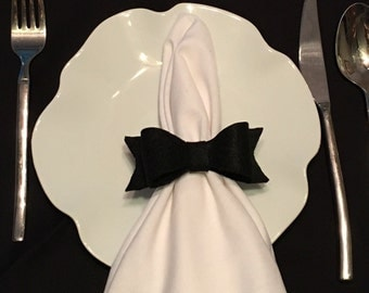 Black Bow Wedding Napkin Rings Felt Bow Party Baby Shower Napkin Ring Holders Fall Winter Wedding Black Tie Wedding