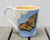 Monarch Butterfly In The Clouds Coffee Mug, Handmade, Hand Painted Ceramic Pottery, Tea Cup