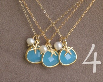 Bridesmaid Necklaces - 4 Aqua Blue Starfish Necklace in Gold - Ocean Blue with Pearl - Beach Jewelry - Bridesmaid Necklaces Gift