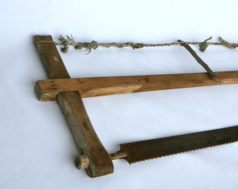 Antique Italian woodcutter's two-man saw