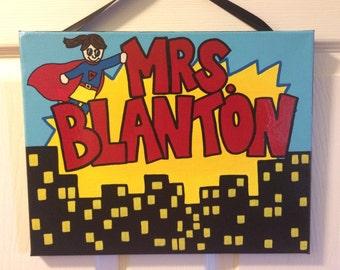 Superhero Teacher Canvas