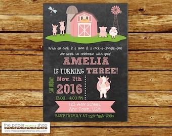 Farm Birthday Invitation | Pink Farm Birthday Party | Farm Party | Birthday Invitation for Girls | Farm Birthday Invites | Barn Invitation