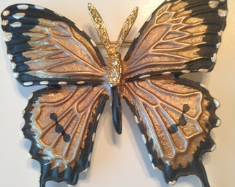 HUGE Vintage Butterfly Brooch ~ Rhinestones ~ Ornate Black Copper Wings ~ NICE!