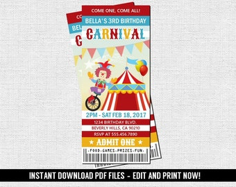 Carnival Ticket Invitation Birthday Party Circus Amusement Park (Instant Download) Editable and Printable PDF Files