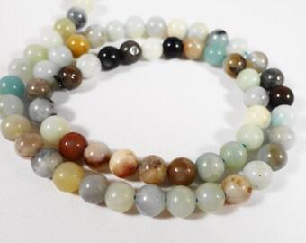 Amazonite Gemstone Beads 4mm Round Flower Amazonite Stone Beads, Multi Color Natural Stone Beads for Jewelry Making, 45 Loose Beads per Pack
