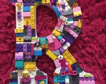Custom mosaic letter, R, letter R, toy bricks, girls room