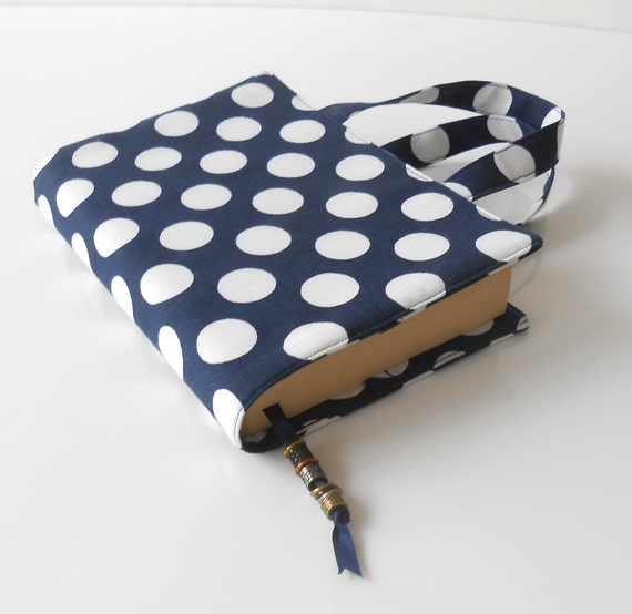 Fabric Paperback Book Covers With Handles : Paperback book cover with handles polka dot