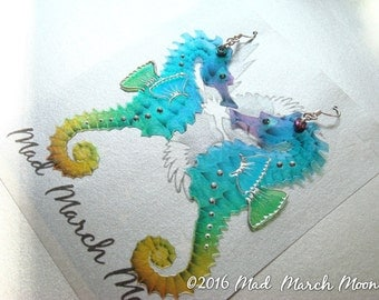 Rainbow Seahorse earrings, iridescent acetate with sterling silver ear wires, latch back or clip on version available