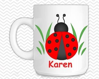 Ladybug Black & Red Kids Mug - Personalized Lady bug Mug - Customized Mug - Melamine Cup - Personalized Kids cup