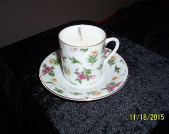 Mini Teacup and Saucer with Soy Candle-Free Shipping