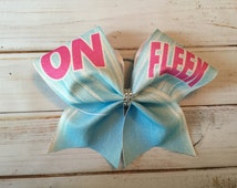 "Cheer Bow, Glitter Cheer Bow, ""On Fleek""  Cheer Bow, Pink Cheer bow, Blue Cheer Bow, Cheerleader Gift, All Star Cheer Bow"