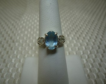 Oval Cut Aquamarine Ring in Sterling Silver