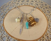 Silver Charm Necklace- Owl, Wood, Turquoise, Feathers- One of a Kind!