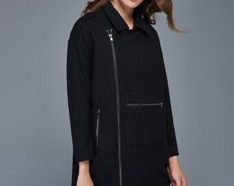 Winter jacket, high fashion coat, wool coat, coats for women, black coat, zipper jackets, asymmetrical coats, woman jacket, maxi coat C968